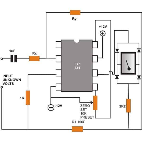 AC Voltmeter Circuit using IC 741