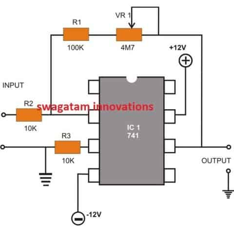 IC 741 Inverting DC Amplifier circuit