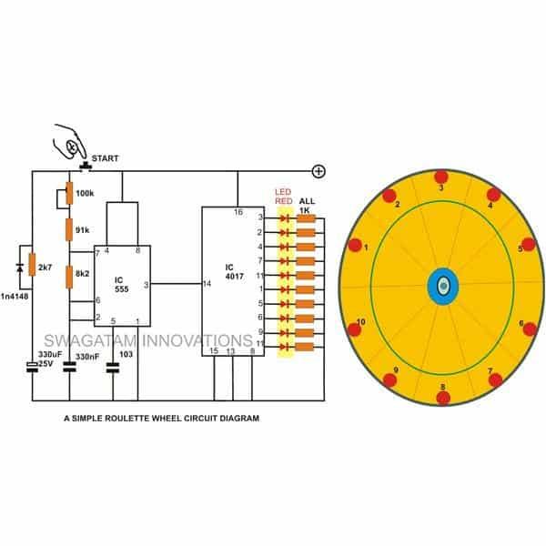 10 LED Simple Roulette Wheel Circuit