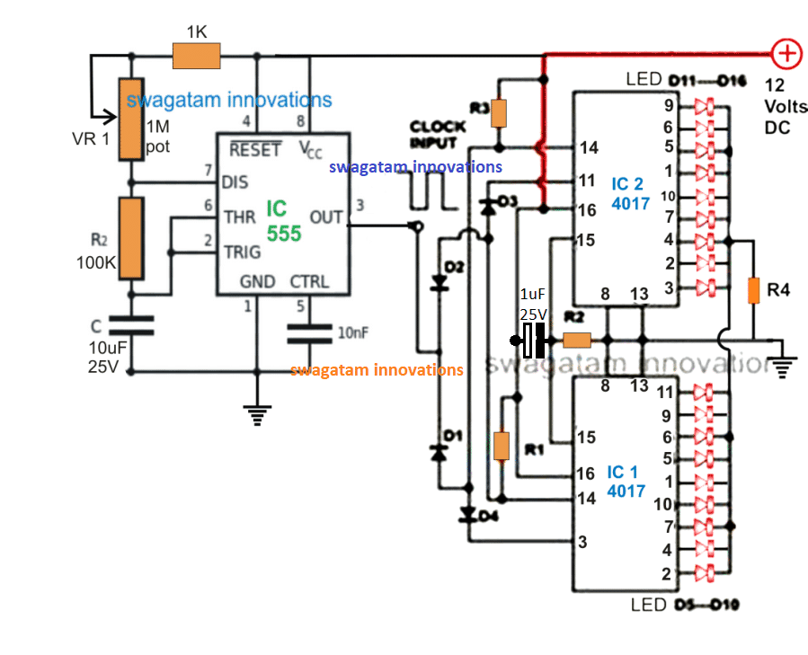 18 LED chaser circuit two IC 4017 cascaded with each other