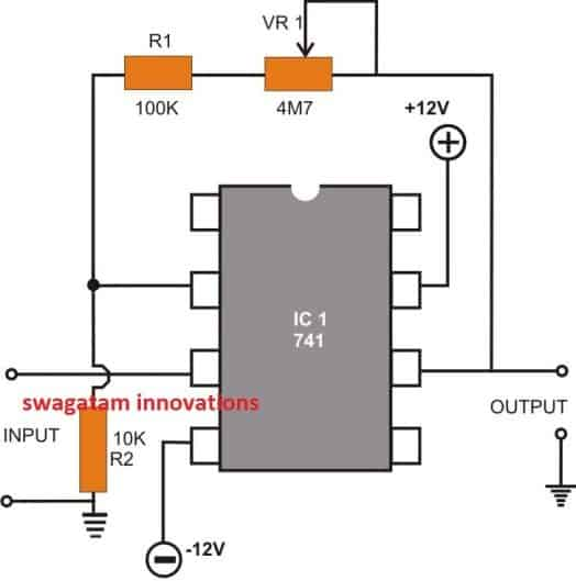 IC 741 Non-inverting DC Amplifier circuit