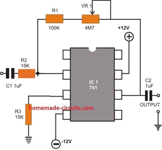IC 741 Inverting AC Amplifier circuit
