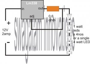 Simple 4 Watt LED Driver Circuit Using IC 338