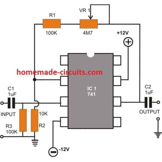 opamp 741 Non-Inverting AC Amplifier circuit