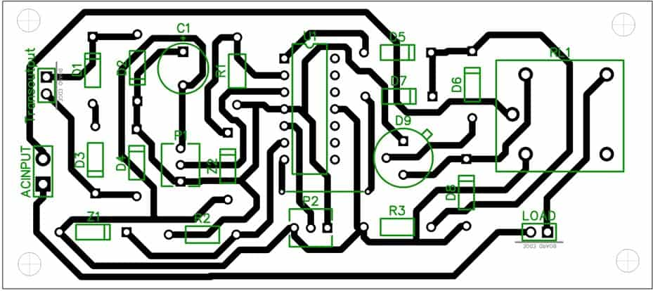 Mains high low voltage cut off circuit PCB layout