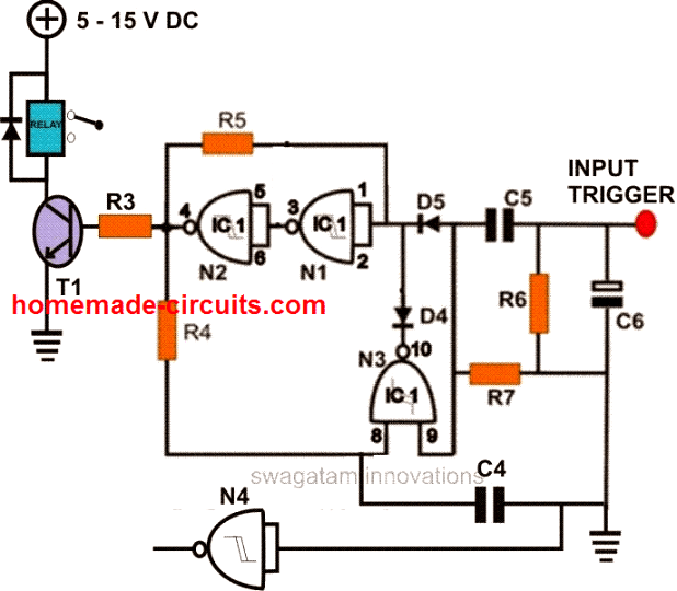 simple flip flop circuit using IC 4093 nand gates