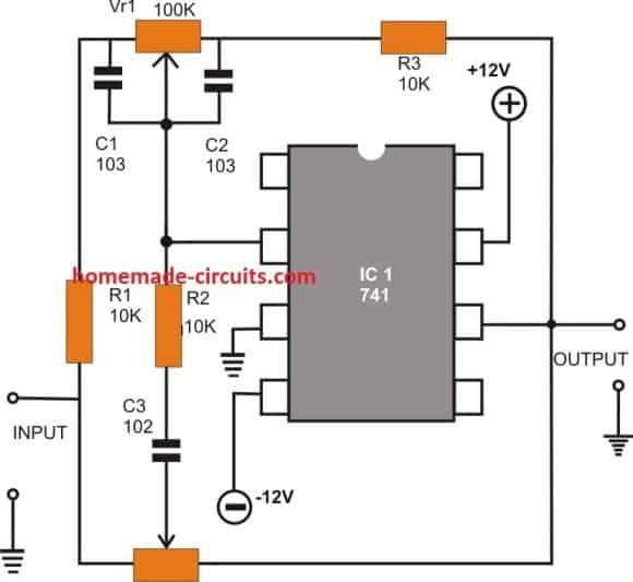 opamp Active Tone Control circuit