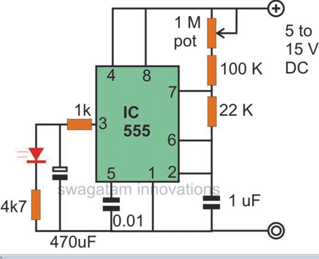 Spooky Effect to the LED using IC 555 flasher circuit