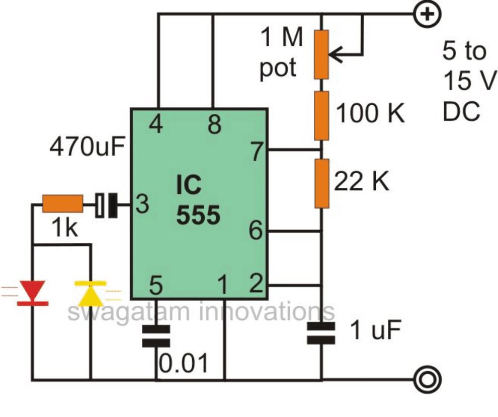 LED fader circuit using IC 555