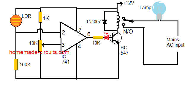 darkness activated IC 741 automatic lamp circuit