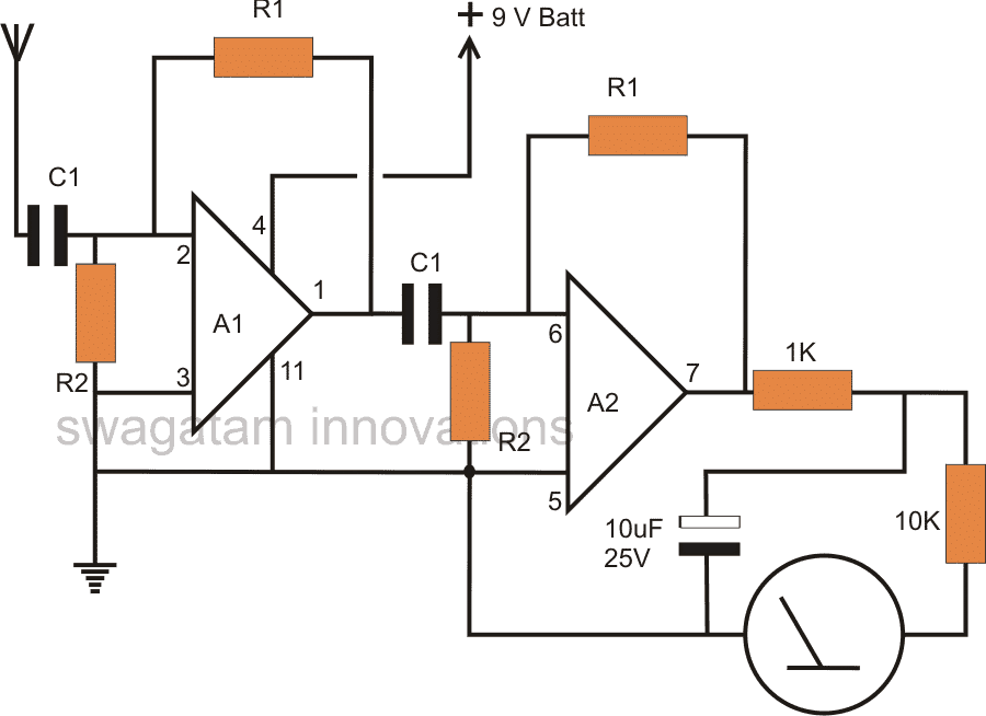 Non Contact AC Phase Fault Detector with Meter Circuit