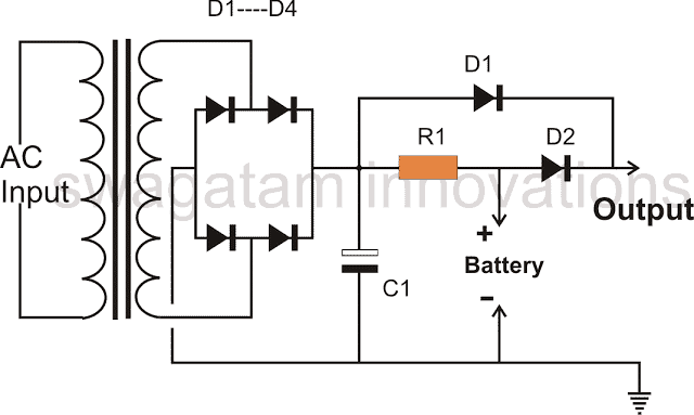 Emergency Light with only diodes Charger Circuit