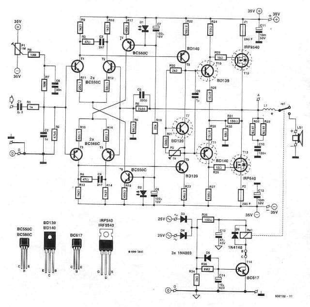 160 Watt complete Amplifier Design with Pinout
