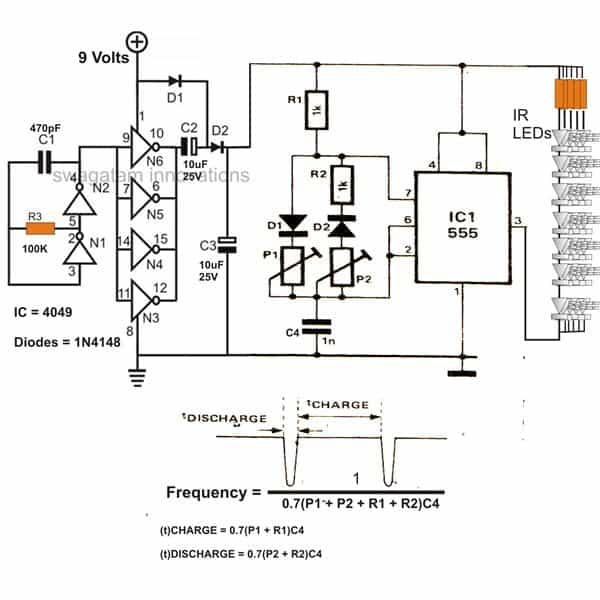 infrared  ir  led flood light circuit