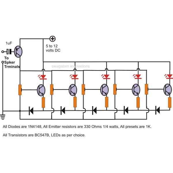 simple transistorized music level indicator circuit