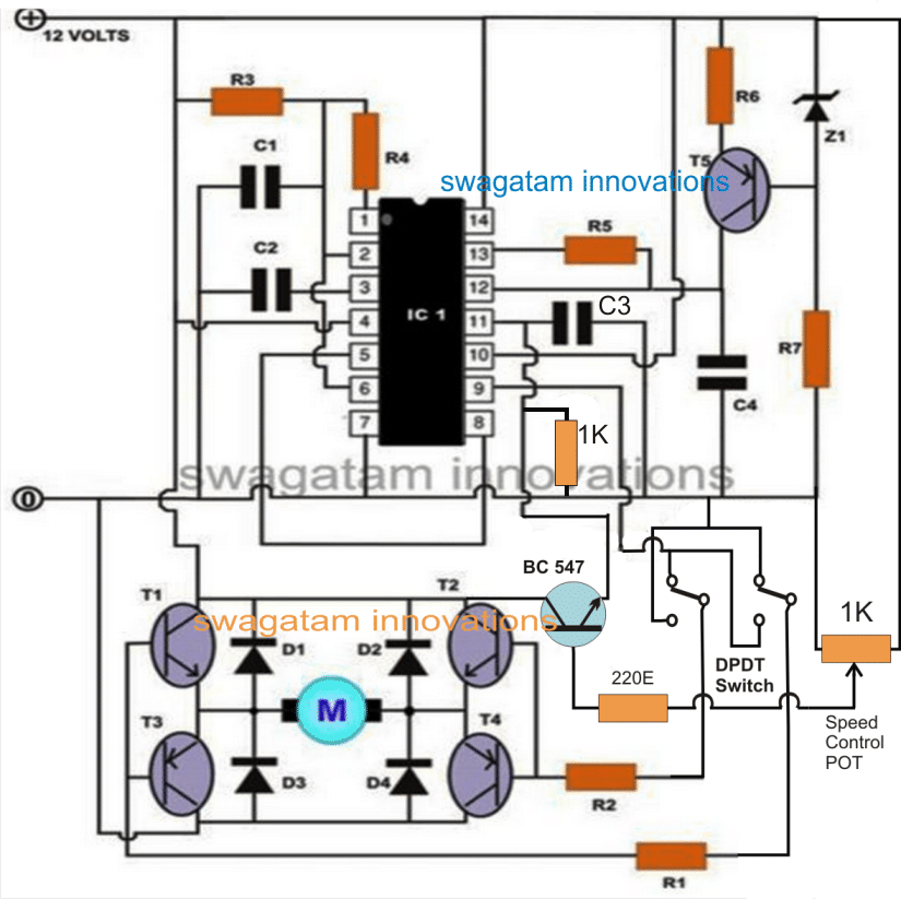 Motor Speed Controller Circuit Using DPDT Switches