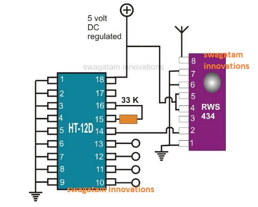 433MHz RF Receiver Module Pinout details