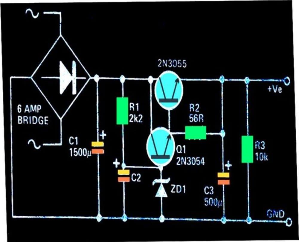 transistorized fixed voltage regulator circuit
