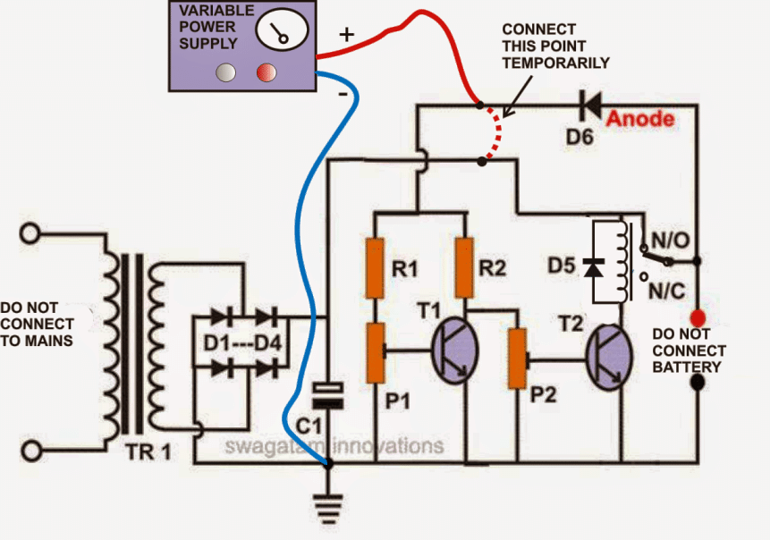 setting up a self adjusting battery charger circuit