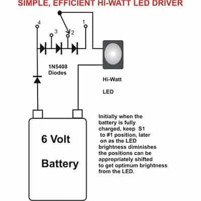 Simple 1 Watt LED Driver Circuit Diagram2C Image simplest, efficient 1 watt led driver circuit led drivers diagram at fashall.co