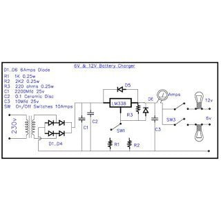 Constant Current Automobile Battery Charger Circuit Using IC LM 338