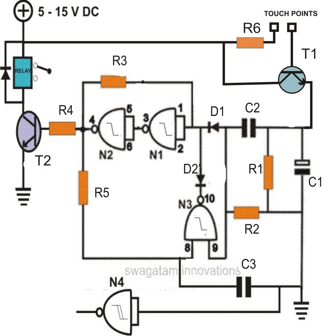 touch switch using Schmitt Trigger IC 4093