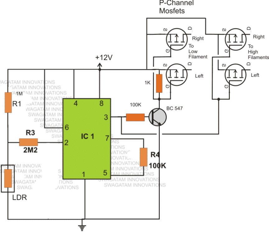 Automobile dimmer dipper lamp using mosfet and IC 555
