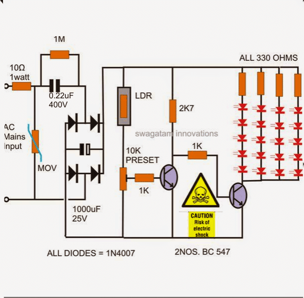 two transistor, transformerless LDR based automatic night lamp
