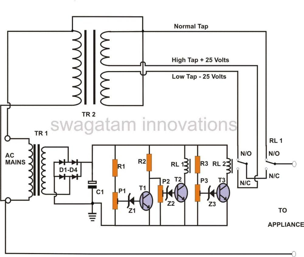 Mains AC voltage stabilzer circuit using two transistors, 220V, 120V