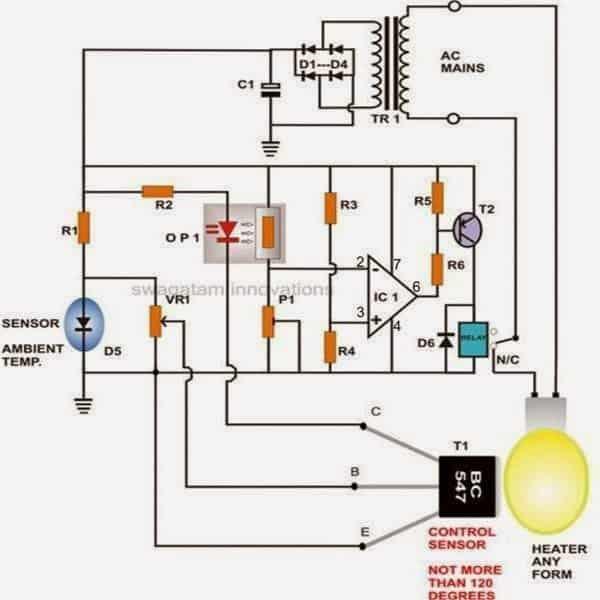Egg Incubator Thermostat using BC547 transistor as heat sensor