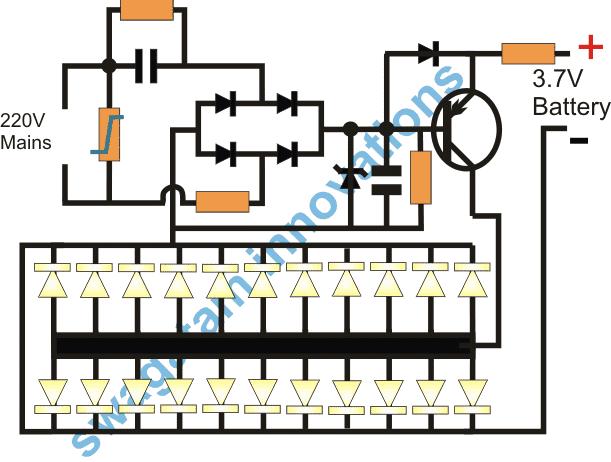 Transformerless single transistor emergency lamp circuit