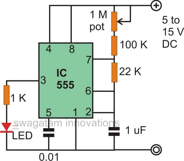 555 LED Flasher Circuits with Blinking, Flashing, Fading Effect