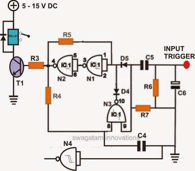 flip flop relay circuit using IC 4093