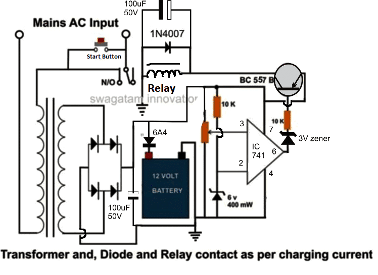 High Current 100 to 200 Amp Automatic Lead Acid Battery Circuit Diagram is shown below