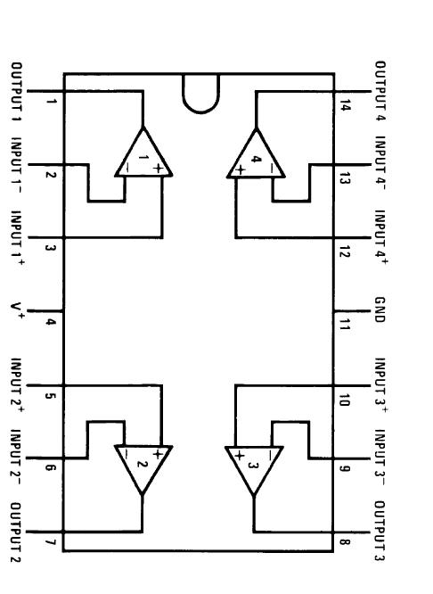 IC LM324 pinout diagram