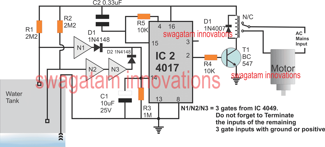 IC 4017 based automatic water level control circuit
