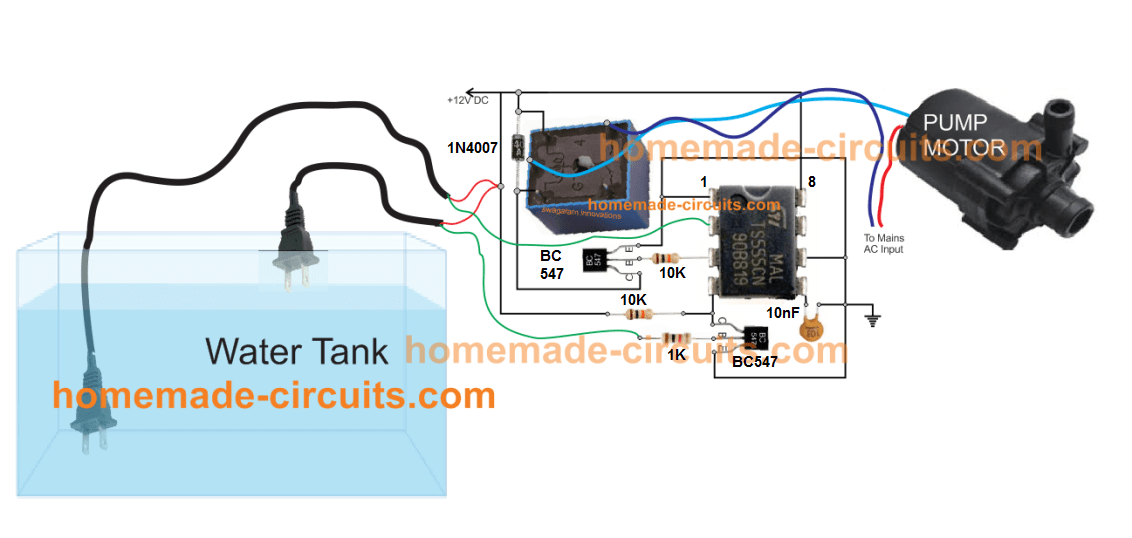 automatic simple IC 555 water level controller circuit