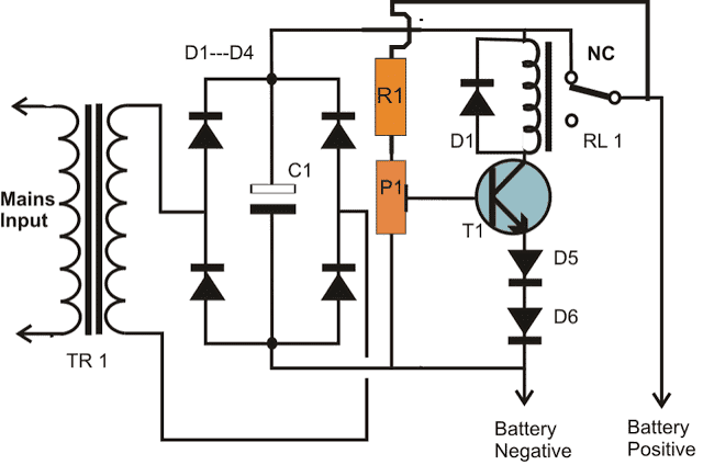 one transistor automatic battery charger circuit