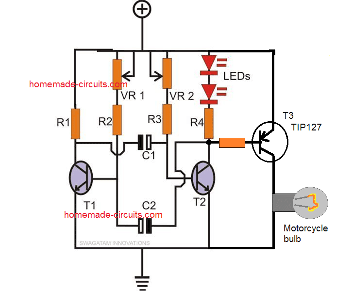 strobe circuit with motorcycle bulb