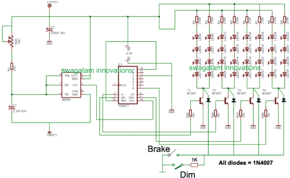 car chasing light circuit with brake light and park light