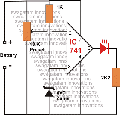 IC 741 Low Battery Indicator Circuit
