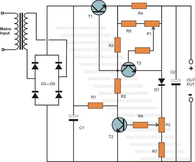 Variable Voltage Current Power Supply Using Transistor