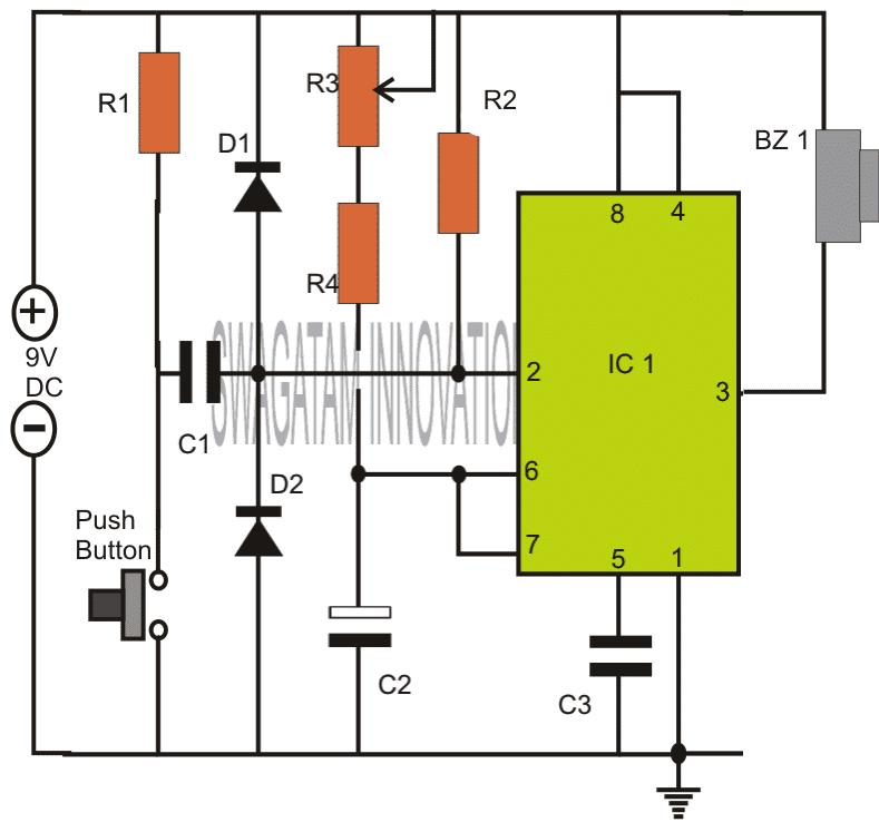 Adjustable Timer Circuit Using IC 555