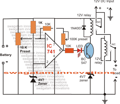 Low Battery Indicator Circuit Diagram with load disconnect