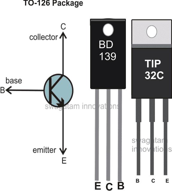 BD139 and TIP32 pinout diagram
