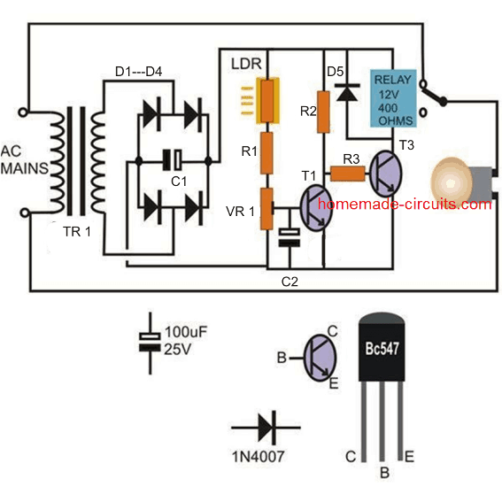 automatic day night street lamp circuit using only transistors