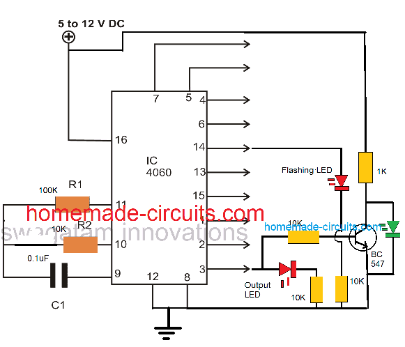 Basic ON/OFF sequence of IC 4060 pinouts