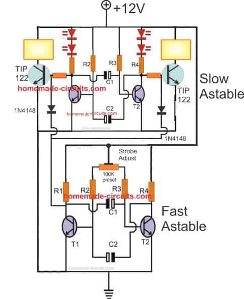 how to make any light a strobe light using just two transistors rh homemade circuits com Emergency Vehicle LED Strobe Lights strobe light schematic symbol