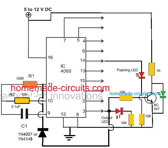how to latch IC 4060 output by adding a diode
