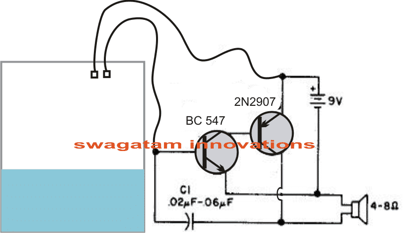 two transistor water level buzzer